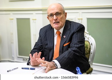 Former New York CIty Mayor Rudy Giuliani during visit to Kyiv, Ukraine. November 2017
