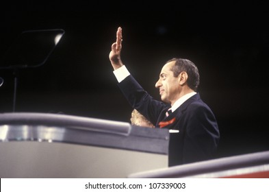 Former New York Governor Mario Cuomo addresses crowd at the 1992 Democratic National Convention at Madison Square Garden, New York