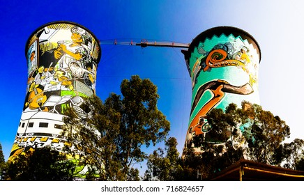 Former powerplant, cooling tower, now is tower for BASE jumping. - 25-08-2013 soweto, johannesburg. South Africa