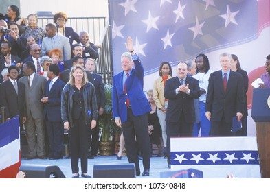 Former President Bill Clinton speaks at a Presidential rally for Gore/Lieberman on November 2nd of 2000 in Baldwin Hills, California