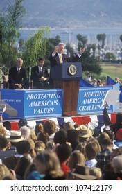 Former President Bill Clinton speaks at a Santa Barbara City College campaign rally in 1996, Santa Barbara, California