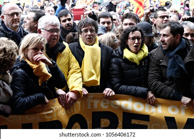 Former President of the Generalitat of Catalonia, Carles Puigdemont attends in a protest of support arrested members of former Catalan government in Brussels, Belgium on Dec. 7, 2017