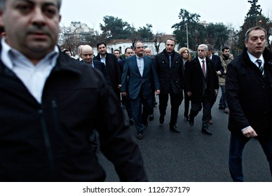 Former Prime Minister Costas Karamanlis  arrives to casts his vote for the Greek legislative election at a polling station in Thessaloniki, Greece on Jan. 25, 2015