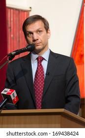 Former prime minister of Hungary, Mr. Gordon Bajnai gives a speech on February 8, 2013, Veresegyhaz, Hungary.