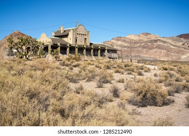 Former Rail road station of Ghost town Rhyolite near Beatty at Hwy 374, Nevada, USA