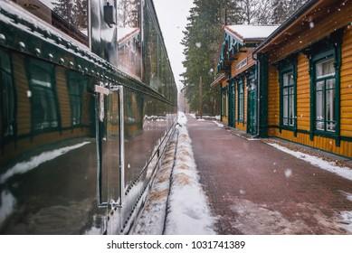 Former railroad station Bialowieza Towarowa in Bialowieza, large village in Podlasie region of Poland - Shutterstock ID 1031741389
