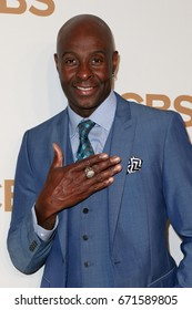 Former San Francisco 49ers wide receiver Jerry Rice attends the 2015 CBS Upfront at The Tent at Lincoln Center on May 13, 2015 in New York City.