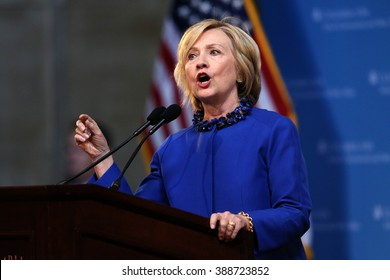 Former Secretary of State Hillary Rodham Clinton delivers a keynote address at 18th Annual David N. Dinkins Leadership Forum at Columbia University, New York, April 29, 2015.  photo by Trevor Collens
