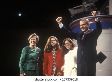 Former Senator Paul Tsongas addresses crowd at the 1992 Democratic National Convention at Madison Square Garden, New York