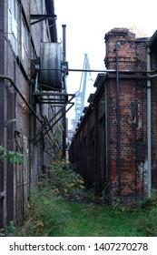 Former shipyard areas - abandoned buildings. The Imperial Shipyard Trail,  Gdansk Shipyard, Poland