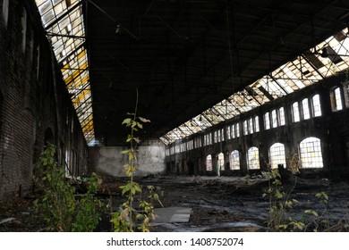 Former shipyard areas - abandoned destroyed hall. The Imperial Shipyard Trail,  Gdansk Shipyard, Poland