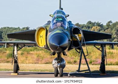 Former Swedish Air Force Saab 37 Viggen fighter jet at Kleine-Brogel Airbase. Belgium - September 14, 2019.