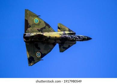 Former Swedish Air Force Saab 37 Viggen fighter in flight over Kleine-Brogel Airbase. Belgium - September 14, 2019.