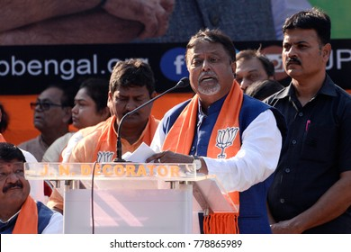 Former Trinamool Congress (TMC) leader and current Bharatiya Janta Party (BJP) leader Mukul Roy delivers his speech during a rally organized by Bharatiya Janta Party on November 10, 2017 in Calcutta