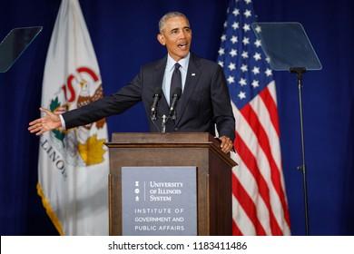 Former U.S. President Barack Obama slams President Trump and republicans at the University of Illinois Urbana-Champaign in Urbana, Illinois, September 7, 2018.