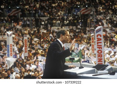 Former Vice President Al Gore delivers acceptance speech at the 2000 Democratic Convention at the Staples Center, Los Angeles, CA