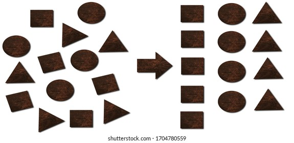 forming geometry to categorize with wooden cube and triangle,  categorizing geometry concept