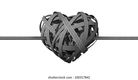 Forming a successful partnership and coming together in cooperation from long distance relationship represented by highways converging and merging to a heart shaped road tangle on a white background.