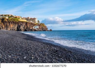 Formosa black beach in Funchal, Madeira island.