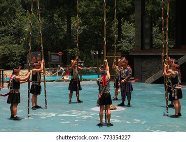 Formosan Aboriginal Cultural Village, Nantou County, Yuchi Township, Taiwan - June 8 2017: One of the cultural shows performed by locals with traditional costumes.