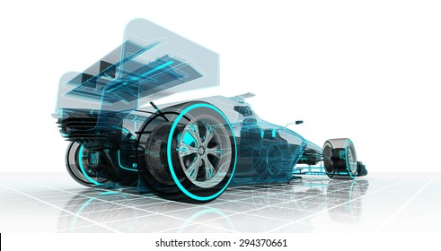 formula car technology wireframe sketch perspective back view motorsport product background design of my own