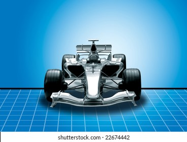 Formula One Car In Black With Blue Background