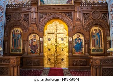 Foros. Crimea - June 9. 2019. Iconostasis of Church of the Resurrection