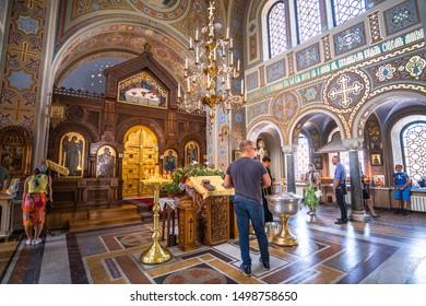 Foros. Crimea - June 9. 2019. Interior of Church of the Resurrection