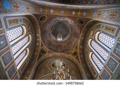 Foros. Crimea - June 9. 2019. Ceiling of Church of the Resurrection