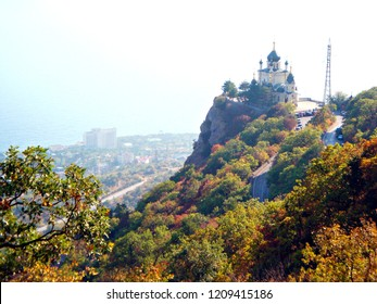 FOROS, RUSSIA - October 2017: The  autumn view of The Church of the Resurrection of Christ in Foros, Crimea, Russia