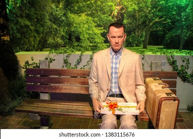 Forrest Gump (Tom Hanks) wax figures in Madame Tussauds museum in Berlin, Germany - 20/04/2019