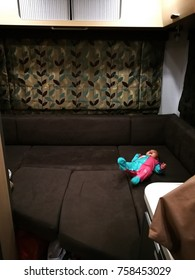 Forrestfield, Western Australia - 5 September 2017: A baby is crying inside the motor home sofa near Hale Road, Shire of Kalamunda.