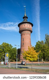FORST, GERMANY - October 10th 2018: Water pressure tower in Forst, Germany