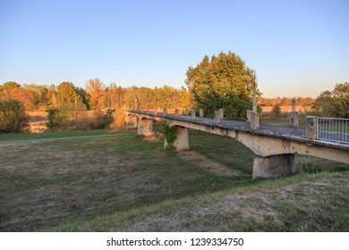 FORST, GERMANY - October 11th 2018: Destroyed in WW2 pedestrian bridge over Polish - German river border in Forst, Germany