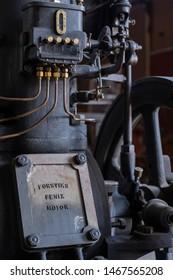 FORSVIK BRUK, FORSVIK, SWEDEN - JUNE 15 2019: Forsviks Fenix motor - ignition bulb motor. The motor is on display in the industrial museum in the small swedish village Forsvik.