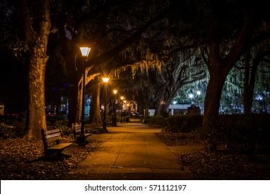 Forsyth Park in Savannah, Georgia at Night