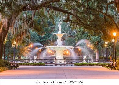 Forsyth Park, Savannah, Georgia, USA fountain at dawn.
