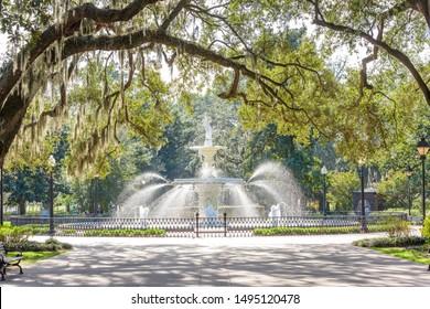 Forsyth Park, Savannah, Georgia, USA fountain in the afternoon.