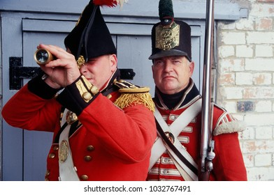 Fort Amherst Chatham Kent UK Sept 2016. Unidentified re-enactors of the Napoleonic Association wear the period uniforms of a British Officer and Fusilier at a re-enactment of the Battle of Waterloo.
