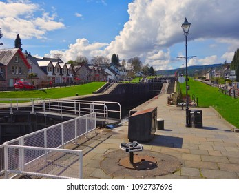 Fort Augustus, highlands Scotland - showing centre of the beautiful village area including area surrounding the locks on the Caledonian Canal. This canal joins onto Loch Ness.