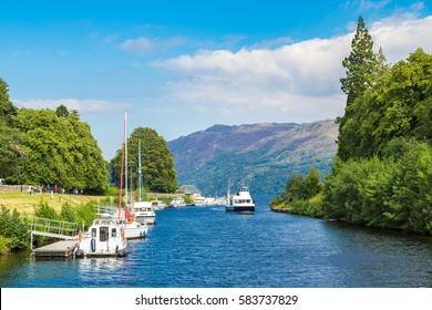 Fort Augustus and Loch Ness lake in Scotland in a beautiful summer day, United Kingdom