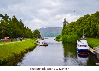 Fort Augustus, Scotland; 08/07/2015: Caledonian Canal in Fort Augustus, in the Highlands (Scotland, United Kingdom)