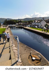 FORT AUGUSTUS, SCOTLAND - August 3, 2019. People walking along the Caledonian Canal.