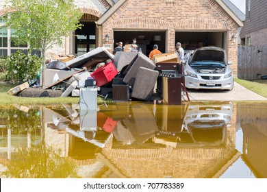 Fort Bend County, Texas - September 2, 2017: Cleanup begins in Houston suburb Riverstone after hurricane Harvey and heavy floods.