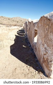 Fort Bowie National Historical Site in Arizona. Fort Bowie was a 19th-century outpost of the United States Army. Wall of adobe ruins of the officer's quarters.