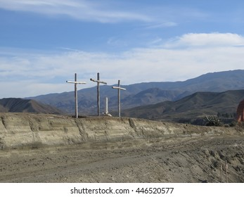 FORT BRAVO, SPAIN - JANUARY 23 2016: Three wooden crosses in Fort Bravo Film Set, Tabernas Desert, Almeria, Spain