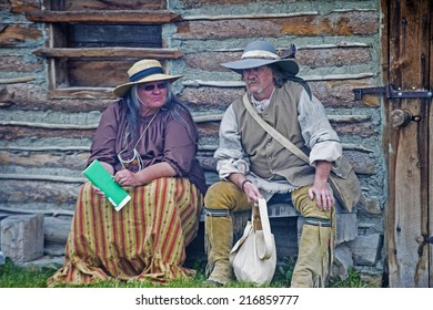 FORT BRIDGER , WYOMING - AUG 30 : Unidentified participants in the Fort Bridger Rendezvous held in Fort Bridger Wyoming on August 30 2014 Rendezvous is a mountain man celebration of the Fur Trade Era