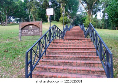 Fort Canning Park, Singapore - July 28, 2018: Spiral staircase to Fort Canning Park.