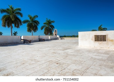 Fort in the center of Campeche, Mexico with cannons