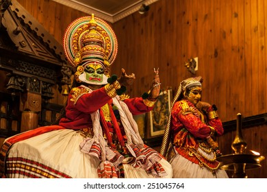 FORT COCHIN -  DECEMBER 7: Kathakali performer in the virtuous pachcha (green) role in Cochin on December 7, 2012 in South India. Kathakali is the ancient classical dance form of Kerala.